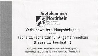 Hausarztzentrum Kellen Dr. med. Johannes Hußmann Verbundweiterbildungsbefugnis