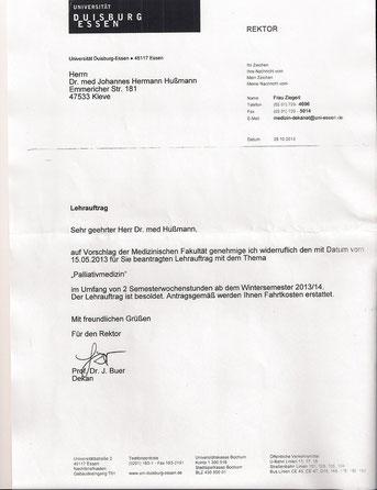 Auszeichnungen Hausarztzentrum Kellen Lehrbeauftragter Palliativmedizin Universität Duisburg-Essen Dr.med. Johannes Hußmann