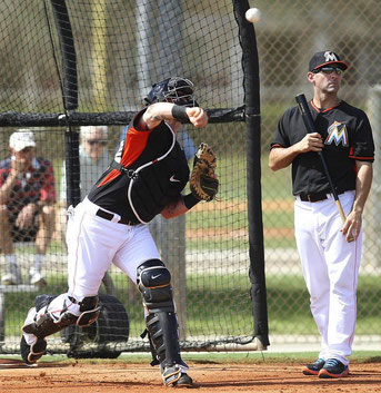 I Miami Marlins durante lo spring training del 2014 (Foto tratta da Palm Beach Post)