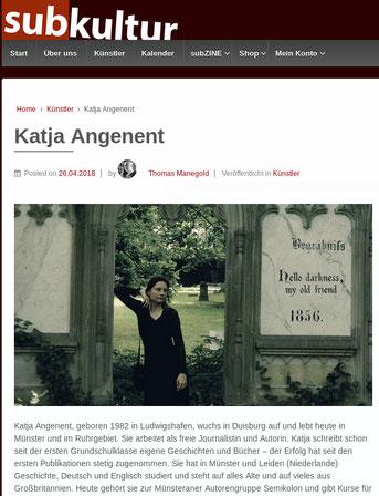Katja Angenent ist Autorin der Berliner Edition Subkultur und so sieht das auf der Webseite aus.