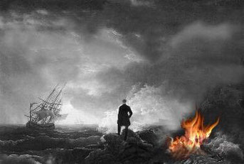 Naufrageur ayant allumé un feu sur la côte et bateau à voiles en perdition
