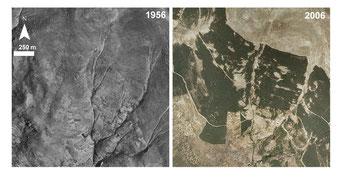 Fotografía comparativa de los cambios en el uso del suelo de Sierra Nevada. / AEET