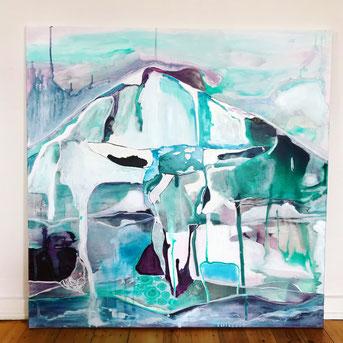 bull, horn, bovine, skull, ink, painting, artwork, art for sale, art studio, skull art, skull painting, glaciers, ice, teal, melting ice, contemporary art, art collection, buy art, art commission, hamburg germany, fine art, arte, bull lake glacier