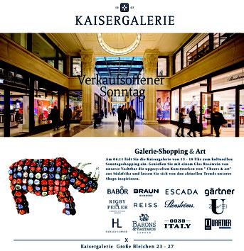 Werbeanzeige von der Kaisergalerie mit Cheers & art