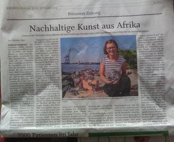Cheers & art ist das erste Mal in der Zeitung.