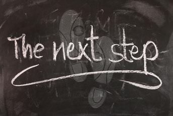 """""""The next step"""" oaf Kreidetafel"""