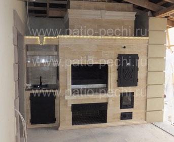 Фото Барбекю комплекс с банным комплексом: коптильня горячего копчения, мангал, вертел, каминная вставка