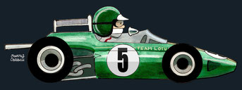 Jim Clark by Muneta & Cerracín - El escoces Jim Clark del Team Lotus con su Lotus 33 - Climax pole position