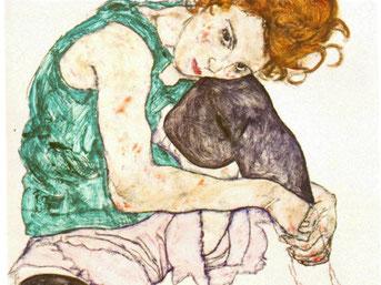 Sitting Woman with Legs Drawn Up, Egon Shiele, 1917
