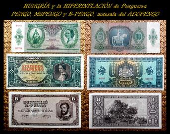 Hungria 10 Pengo 1936 vs. 100.000 Milpengo Abr1946 vs. 1.000.000 B-Pengo Jun1946