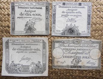 Francia Assignats 10 a 25 sous y sols 1792-1793 unifaces