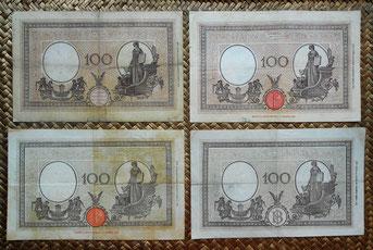 Italia 100 liras serie Barbetti -Grande B- 1896 a 1944 reversos