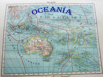 Mapa de Oceanía de primeros de siglo XX