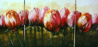 Schilderij Drieluik Rode Tulpen