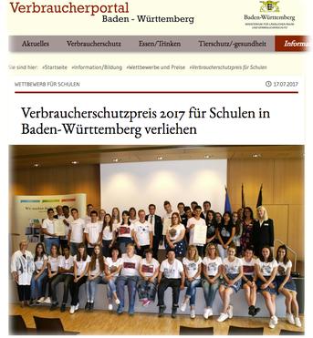 Preisträger des Verbraucherschutzpreises 2017 Baden Württemberg