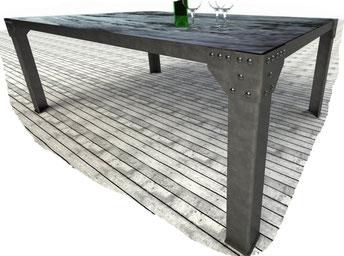 Piétément design style industriel en acier vernis