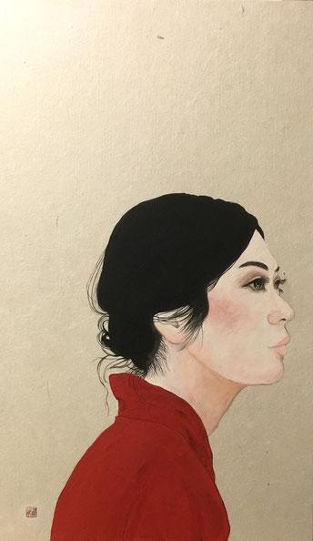 「項〜朱〜」  日本画 455x273mm