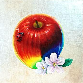 「花の時期の山登り」油彩 S3