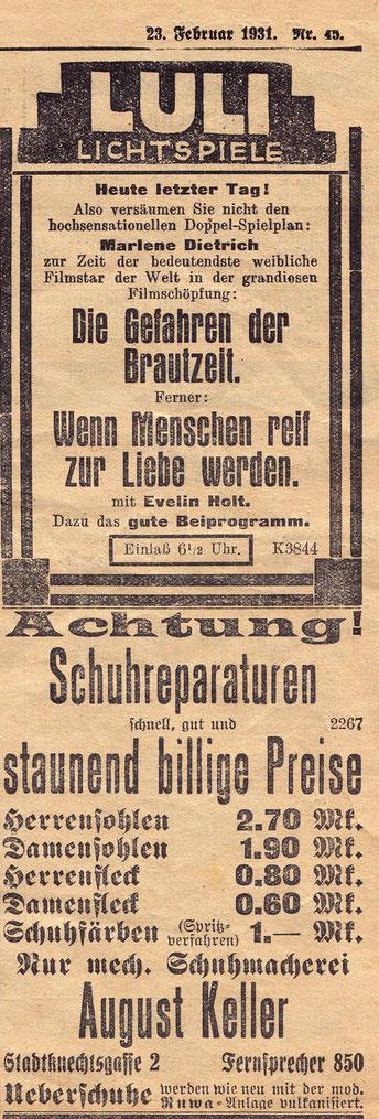 Anzeige 23. februar 1931
