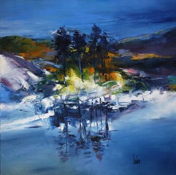 """L'îlot grand bleu"" - 100x100"