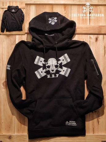 Cafe racer hoodie sudadera negra canguro