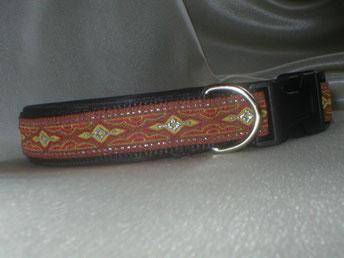 Klickverschluss, Halsband, 2,5cm, Gurtband schwarz, Borte Feuer