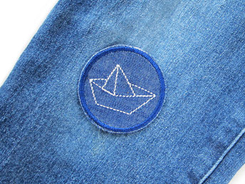 Jeans patch Jeansflicken mini Schiff Papierschiff maritim