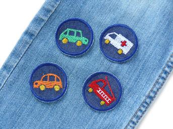 Set Auto Flicken zum aufbügeln, Mini Jeansflicken mit Auto Feuerwehr Krankenwagen, Bügelflicken für Kinder