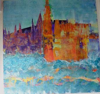 Domstadt, Acryl auf Leinwand, Christel Thoenes