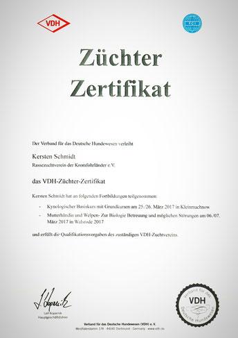 Züchter Zertifikat des VDH für Kersten Schmidt
