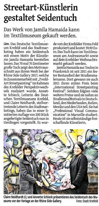 Pressespiegel: Seidentuch mit Motiv der Streetart Künstlerin Jamila Hamaida - von FELD Textil GmbH