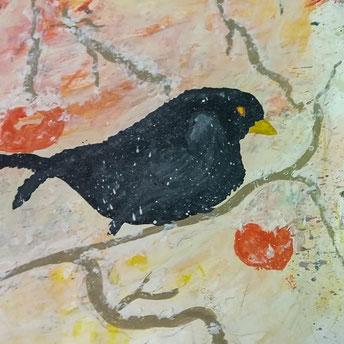 "Nr. 29 / HEIDELINDE RITTER / ""Amsel im Winter"", Aquarell auf Papier, 50x50cm, 250,-€"