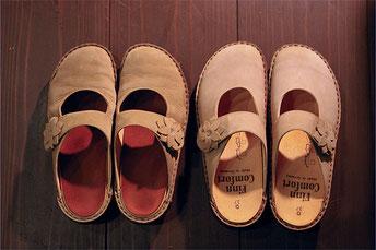 左:3ヶ月履きました(中敷加工済)  右:新品