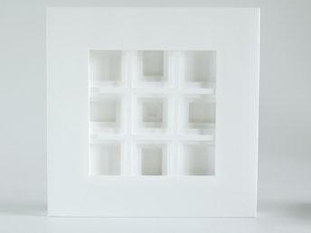 PAPIER-art ART-papier, Papierbild, Papierschichten, weiß, Licht und Schatten, Unikat, Harald Metzler, Mattsee, Austria