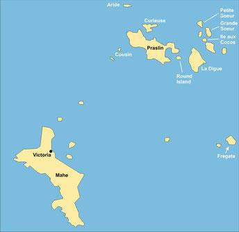 Seychellen Reisen - Karte