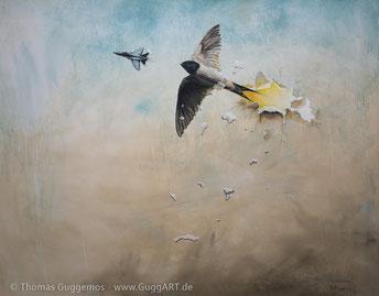 Acrylgemälde, Schwalbe jagt Flugzeug, Düsenjet, jet, die andere Seite, von Thomas Guggemos
