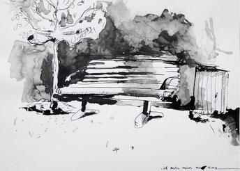 Ich ruhe mich nur aus, 29,5 x 21 cm, Tinte, 2014.