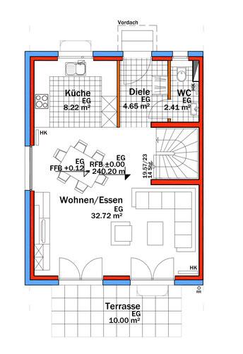 Illustrierter Grundriss Erdgeschoss Eckhaus