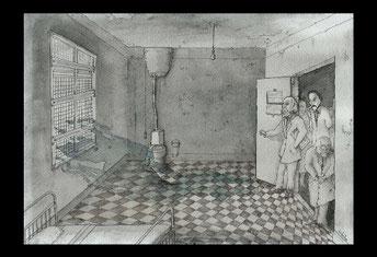 dessin illustration Lovecraft Charles Dexter Ward crayon aquarelle hôpital