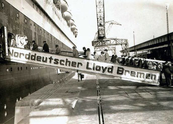 Boarding the S.S. Bremen. Port unknown.