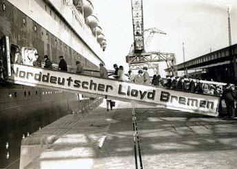 Boarding the S.S. Bremen. Port unknown.