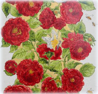 Ausschnitt: Radierung Rosenranke - Vernis-Mous, Acryl und Aquarell, im  70 x 50 Goldrahmen