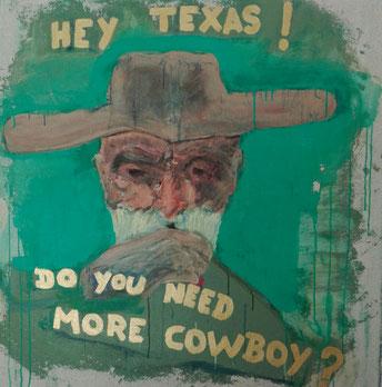 SOLD - «More cow-boy ?» 98x98cm Sennelier acrylic on linen.