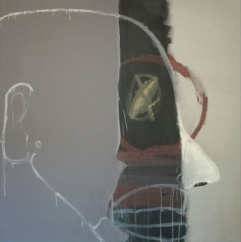 SOLD - «FACE (SIDE VIEW)» - 2019 - acrylic and marble powder on linen canvas - 200x200cm