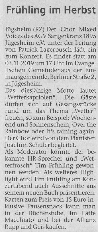 aus der Rodgau Zeitung vom 31.10.2019