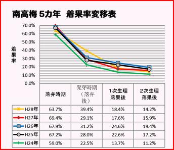 2016梅着果率推移表【南高梅 5カ年】 和×夢 nagomu farm