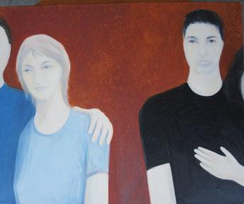 DJDream, 2008, Öl auf Leinwand, 100 x 80 cm. Vielleicht das schwierigste Bild, das ich je gemalt habe, was an den Gesichtsausdrücken lag, die ich genau so haben wollte.