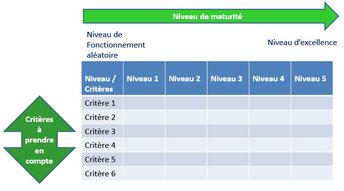 La revue de direction gère l'évolution de la maturité d'organisation, avec la grille de maturité comme indicateur.