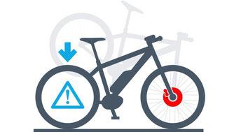 Die Hinterrad-Abheberegelung verhindert das einen Überschlag des e-Bikes bei starkem Bremsen.