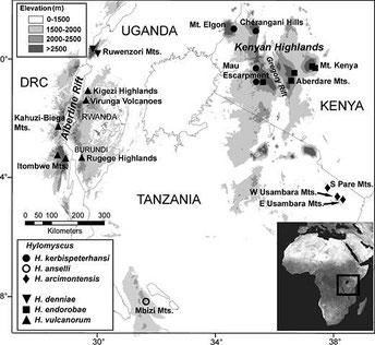 Mappa delle località di raccolta per gli esemplari di Hylomyscus